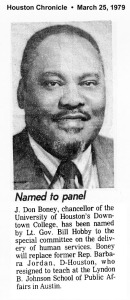 Dr. Jew Don Boney Sr. (my father) named to Univerisity of Houston-Downtown panel