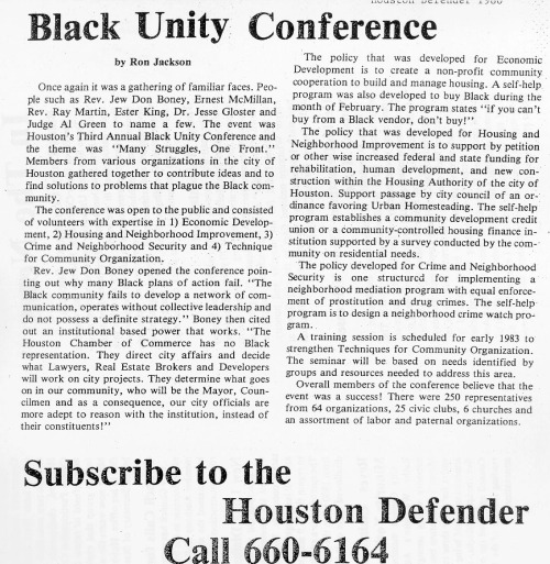 1982 BLACK COMMUNITY UNITY CONFERENCE