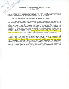 Statement of Mickey Leland 1987